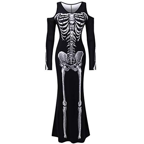TIMEMEAN Partykleid Damen Halloween Cosplay Kostüm Mensch Skelett Druck Lange Ärmel O-Hals Knöchellang Kleid (Baby Kostüm Dubai)