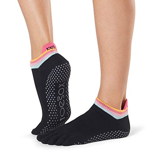 Toesox Damen Women's Low Rise Full Grip Non-Slip for Ballet, Yoga, Pilates, Barre Toe Socks, Retro m
