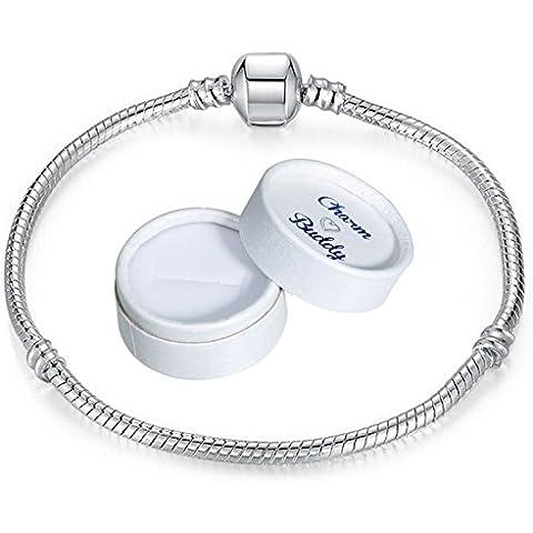 Para pulsera Buddy 17 cm para niñas tipo Pandora pulsera compatible con caja de regalo plateado cuentas de joyas colgantes para