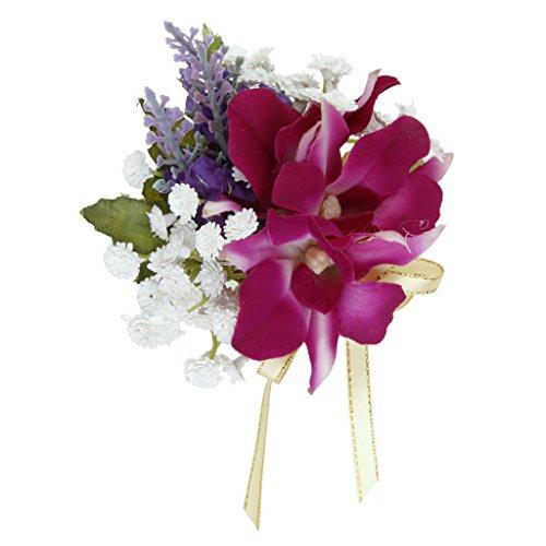 FLAMEER Romantische Orchidee Anstecker Hochzeit Anstecknadel - Lila, ca.11 x 9 cm -