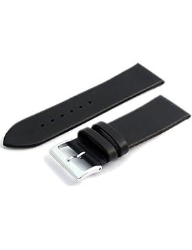 Feines Kalb Leder Uhrenarmband Band 28mm schwarz mit Chrom (Silber Farbe) Schnalle. KOSTENLOSE Spring Bars (Armbanduhr...