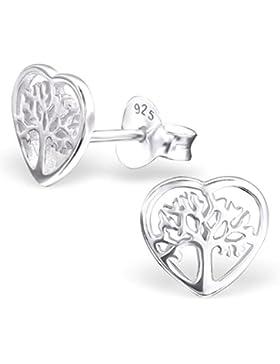 EYS JEWELRY Damen-Ohrstecker Baum des Lebens 925 Sterling Silber 8 x 8 mm silber Ohrringe