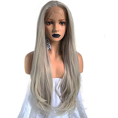 Mode Natürliche Silbergrau Lange Gerade Perücke, Hellgrau Hitzebeständige Haare Frauen Perücken Für Cosplay Kostüm Oder Das Tägliche Leben, 26 Zoll. (Halloween Beste Zu Anime-kostüme)