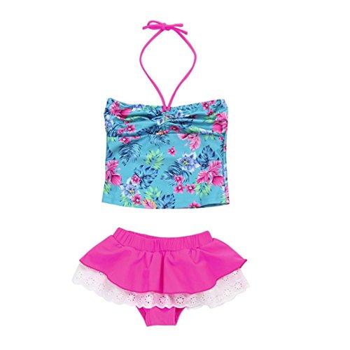 Baby Kindermädchen Bademoden Sonnena 2St Baby Girls Bademoden Badeanzüge Bikini Set Outfits Active/Print/Mini/ärmellos/Okzident (M, Schöne Hot Pink ) (Mädchen Active Outfits)