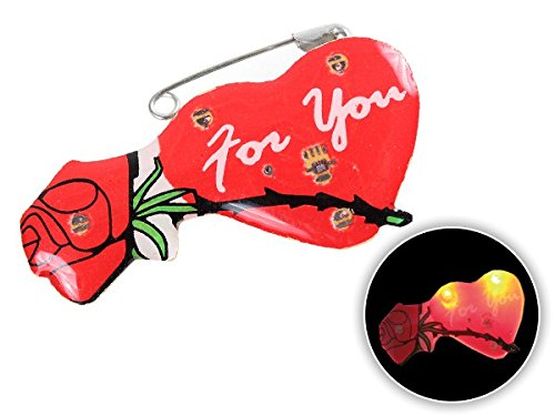 Pin s lumineux coeur et rose 'FOR YOU' (b-024) Broche Pin Pin's lumineux clignotant à LED, FLASHING sympa accéssoire costume de scene theatre animation broches Blinky broche saint valentain