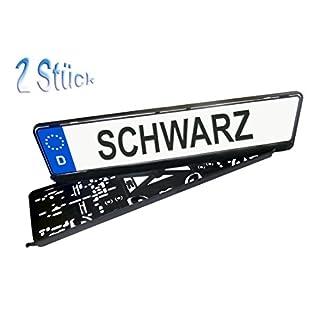 2 Kennzeichenhalter schwarz / Nummernschildhalterung blanko/unbedruckt