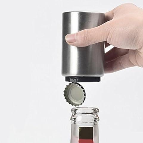 Automatischer Bierflaschenöffner (Edelstahl) mit Magnetkappenfänger, sanft Druck, es ist so einfach, kann Freude bringen. (Silver)