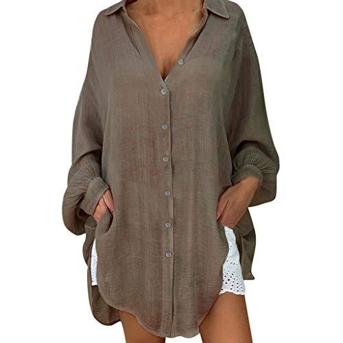 Knopf Vorne Pullover Kleid (Bluse Damen Herbst Shirt Knopf Fünfzackigen Stern Hot Drill Tops Oberteil Langarm 3/4 Ärmel O-Ausschnitt Sweatshirt Langarmshirt Lose Hemd Tunika)