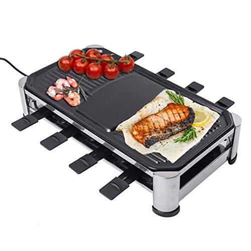 Elektrogrill Raclette Grill 1500W Rauchlos Stahlplatte Tischgrill Mit Pfannen