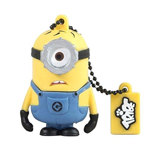 Tribe Minions Carl USB Stick 16GB Speicherstick 2.0 High Speed Pendrive Memory Stick Flash Drive, Lustige Geschenke 3D Figur, USB Gadget aus Hart-PVC mit Schlüsselanhänger – Gelb