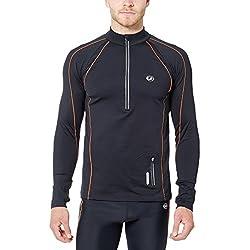 Ultrasport Jimi - Camiseta de Correr para Hombre, Color Negro/Naranja neón, Talla M