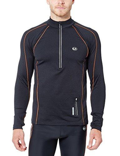 Ultrasport Herren Jimi windabweisendes Angerautes Fleece Laufshirt mit Reflektoren und Quick Dry Funktion, Schwarz/Neon Orange, L