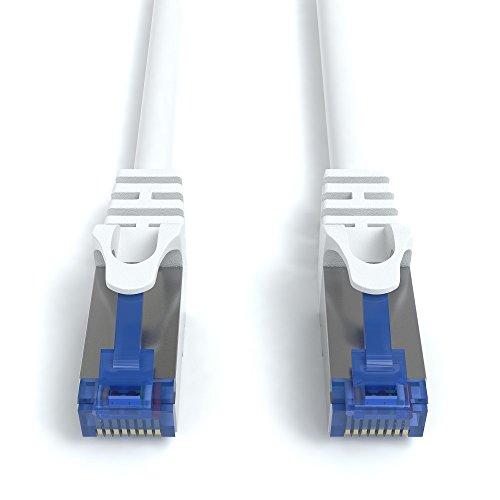 5m CAT.7 Netzwerkkabel (RJ45) Patchkabel Ethernet Lan in weiß| 10Gbit/s | 600MHz | abwärtskompatibel zu CAT.5 / CAT.5e / CAT.6 | von JAMEGA