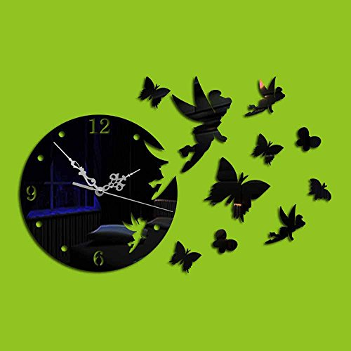 KHSKX Wanduhr DIY Mode Wand Aufkleber, 3D Acryl kreative Wohnzimmer Spiegel Wandtattoo Uhr Wand, Angel Butterfly Stereo-Spiegel Uhr , black (Black Angel Kostüm Kit)