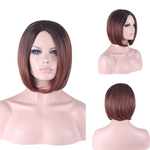 Hrph Mode Sexy Femme Courte Perruque Tout Droit 32cm avec Frange Cosplay Party Perruque de Cheveux Neturelle Résistante au Lavage à Haute Température Cadeau pour Fille