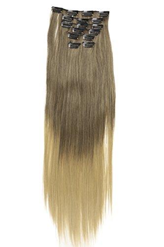 Prettyshop xl set 7 pezzi clip nelle estensioni estensione dei capelli parte dei capelli liscio fibra sintetica termoresistente ombre marrone bionda # 8t25 ce23