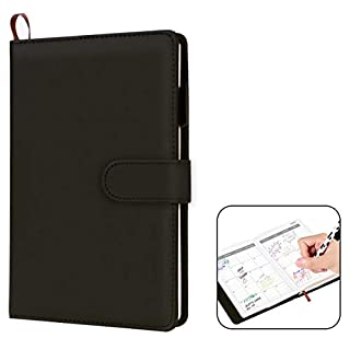 VemMore Notebook with Thick Ruled Lined Paper, Notebook Leather, Diary Journal Agenda Daily Planner Notebook - Black