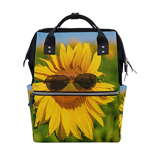 Sonnenblume Tragen Sonnenbrillen Große Kapazität Windel Taschen Mummy Rucksack Multi Funktionen Wickeltasche Tasche Handtasche Für Kinder Babypflege Reise Täglichen Frauen