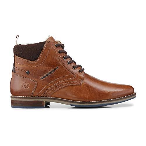 Cox Herren Herren Schnür-Boots aus Leder, Winter-Stiefel in Braun mit weichem Warmfutter gefüttert braun Leder 43