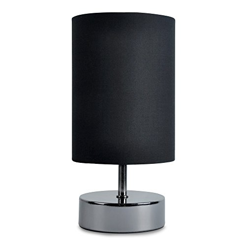 Buy Modern Black Chrome Touch Dimmer Bedside Table Lamp With Polycotton Black Light Shade