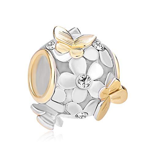 PoeticCharms 925 Sterling Silber Magnolie Rosé Emaille Blume&Golden Schmetterling Charms Kristall ür europäische Armband Schmuck/Schneewittchen