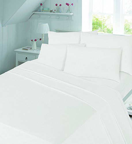 Thermal flannelette 100% brushed cotton flat or fitted sheet plain luxury new (white, pillowcase pair)