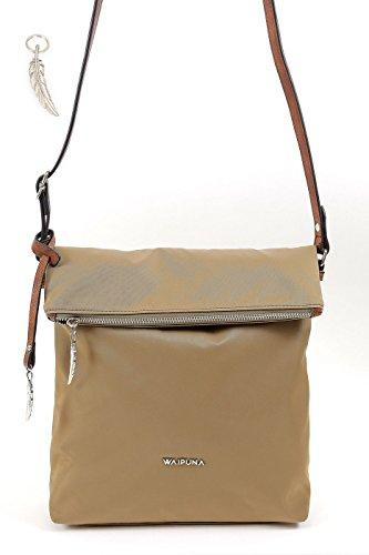 Kleine Umhängetasche mit Überschlag von Waipuna mit Schlüsselanhänger, camel (Stoff Handtaschen Camel)