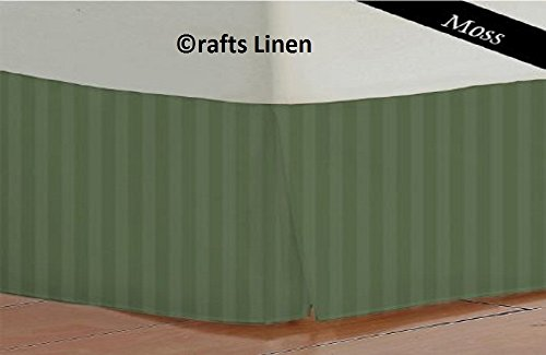 Satin-streifen-600-thread (Crafts Leinen Ägyptische Baumwolle 600-thread-count Satin One Stück Bett Rock Kaiser (+ 24cm) Pocket Tiefe, Moos Streifen)