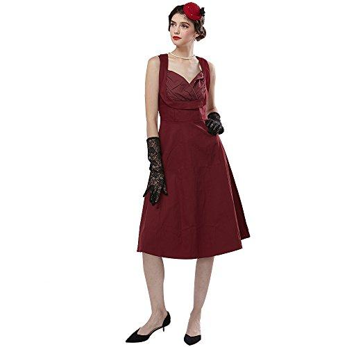 ZAFUL Robe Vintage années 1950 's Style Audrey Hepburn Rockabilly Swing Sans manche Robe Rétro Sexy Robe de soirée cocktaile Col V Bordeaux