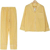 DUKUNKUN Pijama De Cuadros 2 Piezas Conjunto De Manga Larga De Cintura Elástica Pijamas con Borde-L