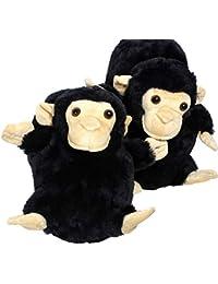 Sleeper'z Monkey Animal Plush Slippers, Funny and Original, Women and Men