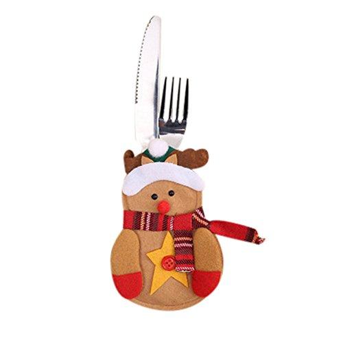 Rawdah* Set De Table De Noël Set De Fourche De Noël Elk Décoration De Table De Noël Ensemble De Couteau Et Fourchette De Noël Wapiti