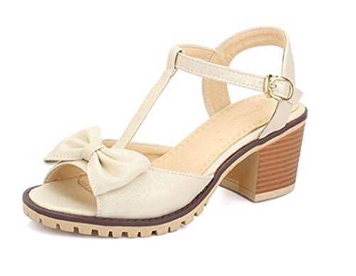 scarpe peep toe di corte a metà spessore Sandali con tacco a farfalla dolci apricot