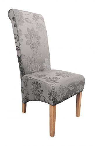 Maryland Fleur Antique Grey Fabric Dining Chair Pair by Oak Furniture House (Chair Antique Dining)