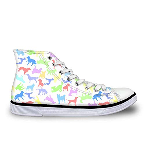 Black Cartoon Animal Lightweight Hi Top Trainers Womens Ankle Boots Canvas Shoes Multi UK 5