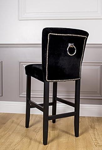 imitation en velours noir boutonné Bar Tabouret haut avec bague chromée Heurtoir Dos