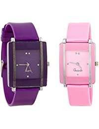 Exotica Watch With Square Dial |Combo Of 2 Watch | Attractive Look | Pink & Purple Colored Dial & Belt | Casual...