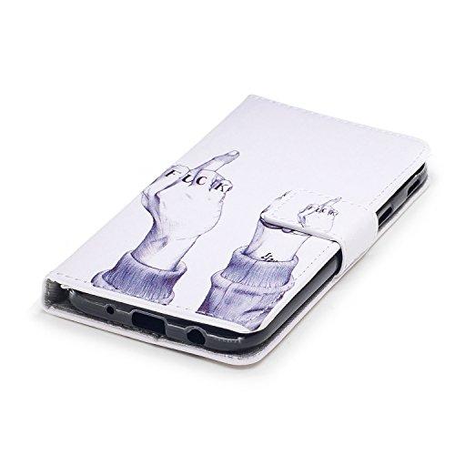 Linvei Samsung Galaxy J7(2017)(Version européenne)Coque,[Conception de Motif Coloré][PU Cuir Housse][Portefeuille Flip][Stand Soutien/Card Slot /Fermeture Magnétique] - Plante tropicale verte Geste drôle
