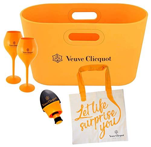 Veuve Clicquot Champagner Flaschenkühler/Papierkorb/Tasche/Blumenvase Yellow Design + 2 Trendy Yellow Gläser + Flaschenverschluss + Leinen-Einkaufstasche
