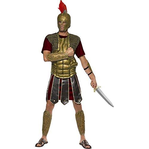 Smiffys, Herren Perseus der Gladiator Kostüm, Tunika, Brustteil, Arm- und Beinmanschetten, Größe: L, (Kostüme Halloween Perseus)
