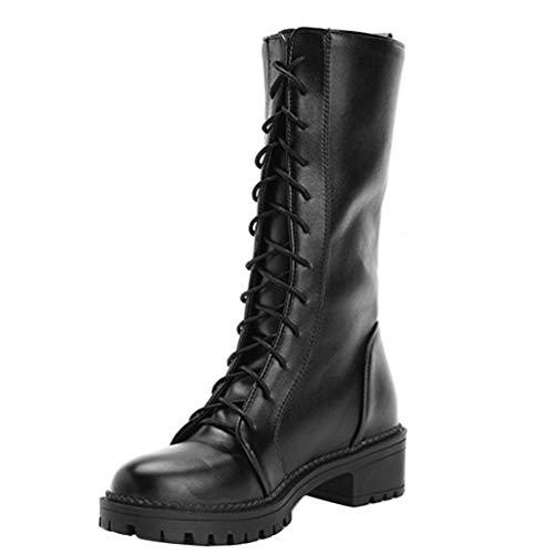 AIYOUMEI Damen Schnürstiefel mit Blockabsatz Plateau Boots Halbstiefel zum Schnüren Damen