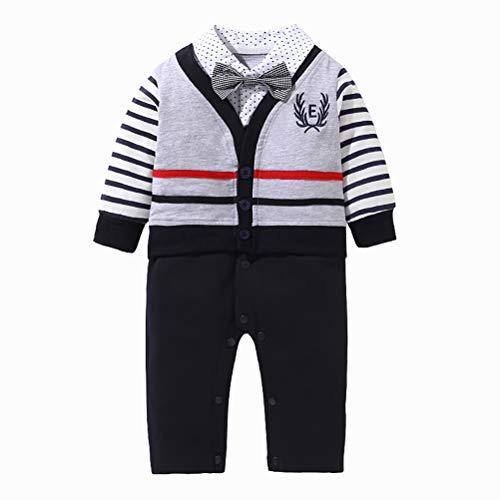 YRE Herbst-und Winter-Baby-Junge Jumpsuit, Baumwolle Gentleman Kleid Schmetterling Knotenkrabbel-Anzug, Harry männlichen Baby-Geburtstagskleid Anzug aus Anzug,90/9to12months