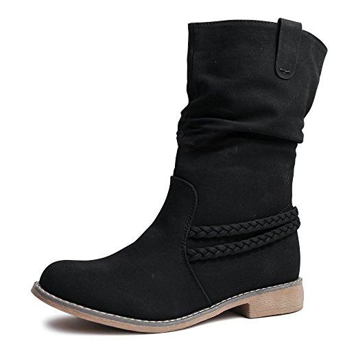 Damen Stiefel Schlupfstiefel Boots Stiefeletten gefüttert ST87 Schwarz