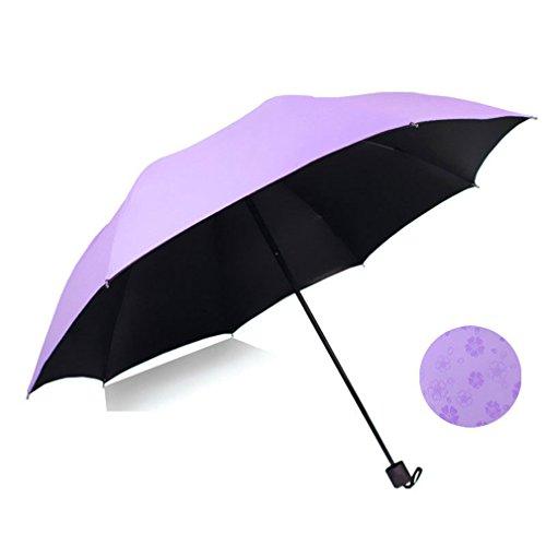 GuokeSonnig Regen Zwei Klappen Mit Drei Grossen Auto Weiblich Sonnenschutz Solar Uv-Licht Pocket Kleine Roman-Mittel Regenschirm, Upgrade-Lila-2-3 Personen