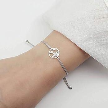 SCHOSCHON Damen Armband Weltkarte // personalisierte Weihnachtsgeschenke Frau Tochter Freundin- Farbe personalisierbar – Armband Welt Globus Weltkugel