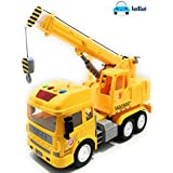 FunBlast Pull Back Vehicles Crane Toy for Kids, Friction Power Toy Trucks for 3+ Years Old Boys and Girls, Light & Sound Toy for Kids with 6 Wheels