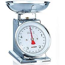 HAEGER Grandmother - Balanza de Cocina Analógica de Diseño Clásico, Capacidad de 5kg, Acero