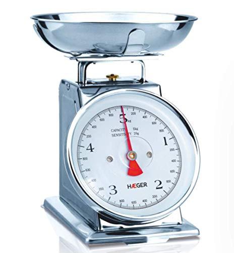 HAEGER Grandmother - Balanza de Cocina Analógica de Diseño Clásico, Capacidad de 5kg, Acero Inoxidable para un Uso Duradero