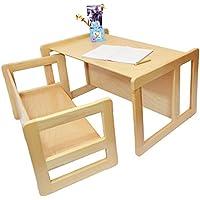 Preisvergleich für 3 in 1 Multifunktionales Kindermöbel Set Bestehend Aus einem Multifunktionalen Kindertisch und eine Multifunktionale Kindersitzbank oder ein Multifunktionales Nest von zwei Couch- Beistelltischen, aus Massivem Buchenholz Natur Lackiert