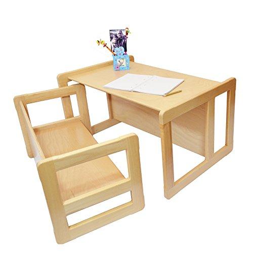 Obique Set Mobilio Multifunzionale 3 In 1 Per Bambini Un Tavolino Multifunzionale E Una Banchina Multifunzionale Per Bambini O Due Tavolini Caffè Per Adulti In Faggio Lacca Chiara
